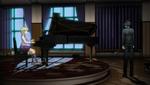 Danganronpa V3 CG - Shuichi Saihara imagining Kaede Akamatu's spirit playing the piano