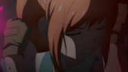 Despair Arc Episode 9 - Chisa looking away from the carnage