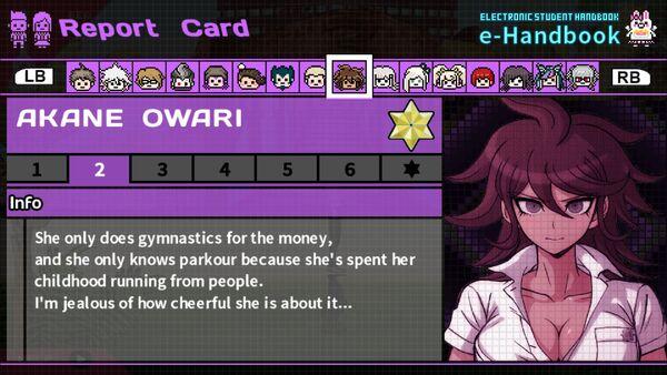 Akane Owari Report Card Page 2