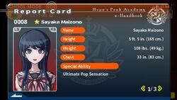 Sayaka Maizono Report Card Page 1