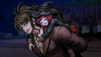 Danganronpa V3 CG - Gonta Gokuhara carrying a sleeping Himiko Yumeno