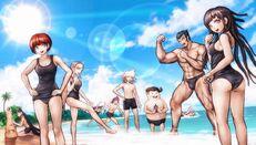 Estudiantes disfrutando en la playa
