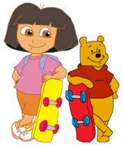 Dora and Pooh with Skateboard