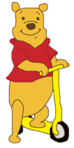 Winnie the Pooh with scooter