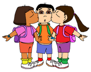 Dora and Mar kiss Dani