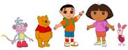 Dora, Botas, Dani, Pooh y Piglet