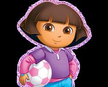 Dora holding soccer ball