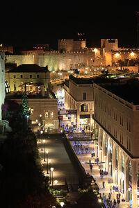 Old city walls and mamilla ave. at night - as seen from -Rooftop- restauran - Jerusalem, Israel