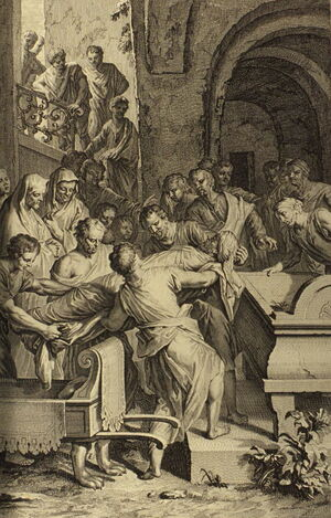 Figures Isaac and Ishmael Bury Abraham
