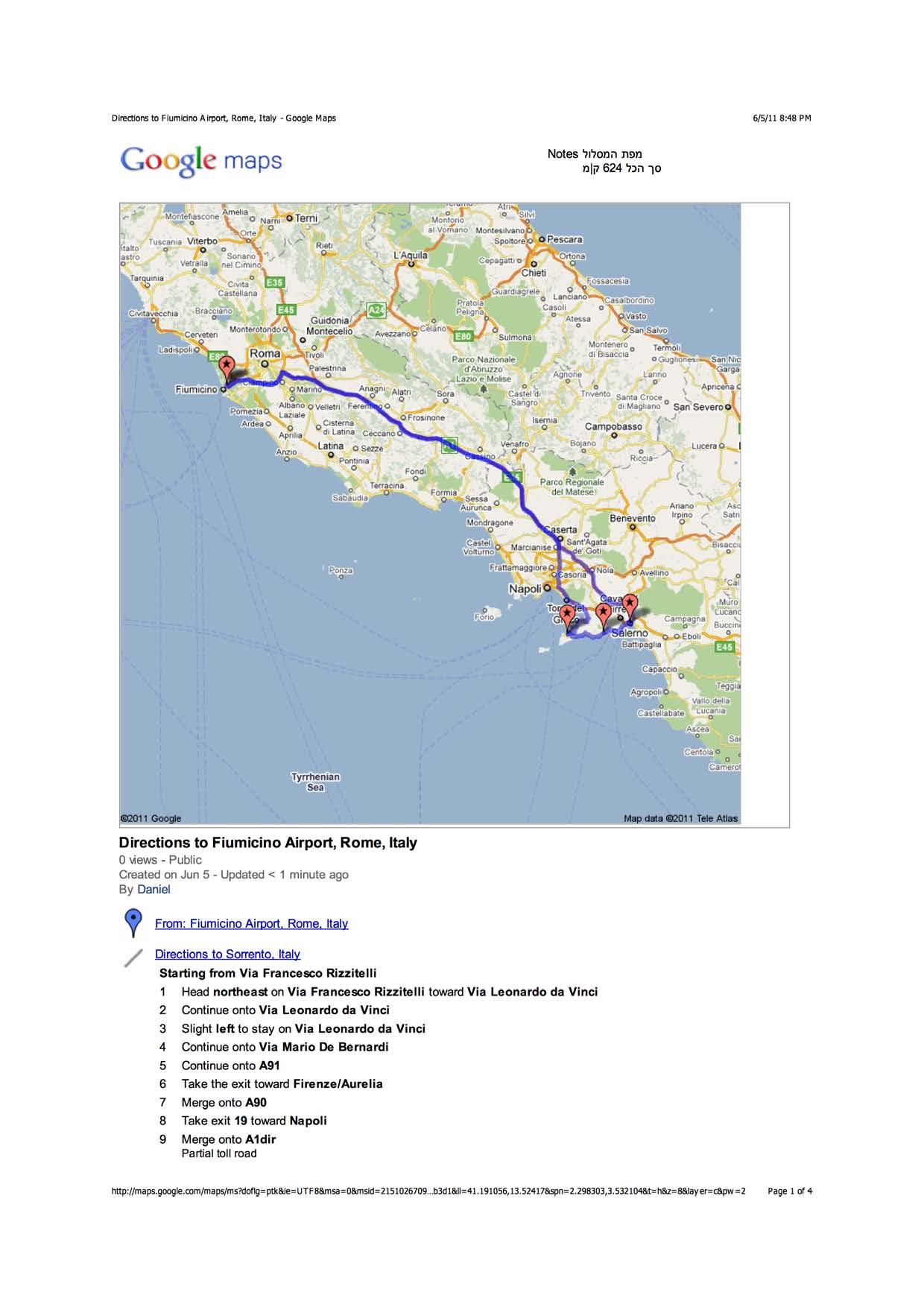 Image - Pages from Directions to Fiumicino Airport, Rome, Italy ...