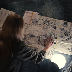 Katharina with Michael's map