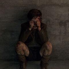 Helge crouched in terror