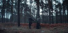 Bartosz meets Silja - they shake hands