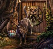 Lynx guarding door