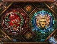 Rose lion emblems
