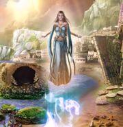 Sea goddess clears the sea