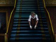 Pinocchio sitting on stairs