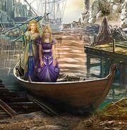 Naida daphne in boat