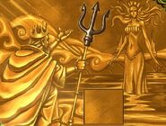 Gold trident mural