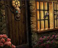 Boy evil witch door