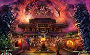 Oriental blazing temple