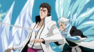 Hitsugaya stabs Aizen