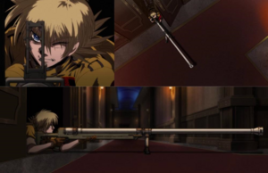 Seras using one of her long range weapons