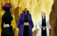 Yoruichi berates Tessai and Urahara