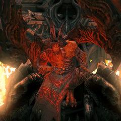 Samael auf seinem Thron