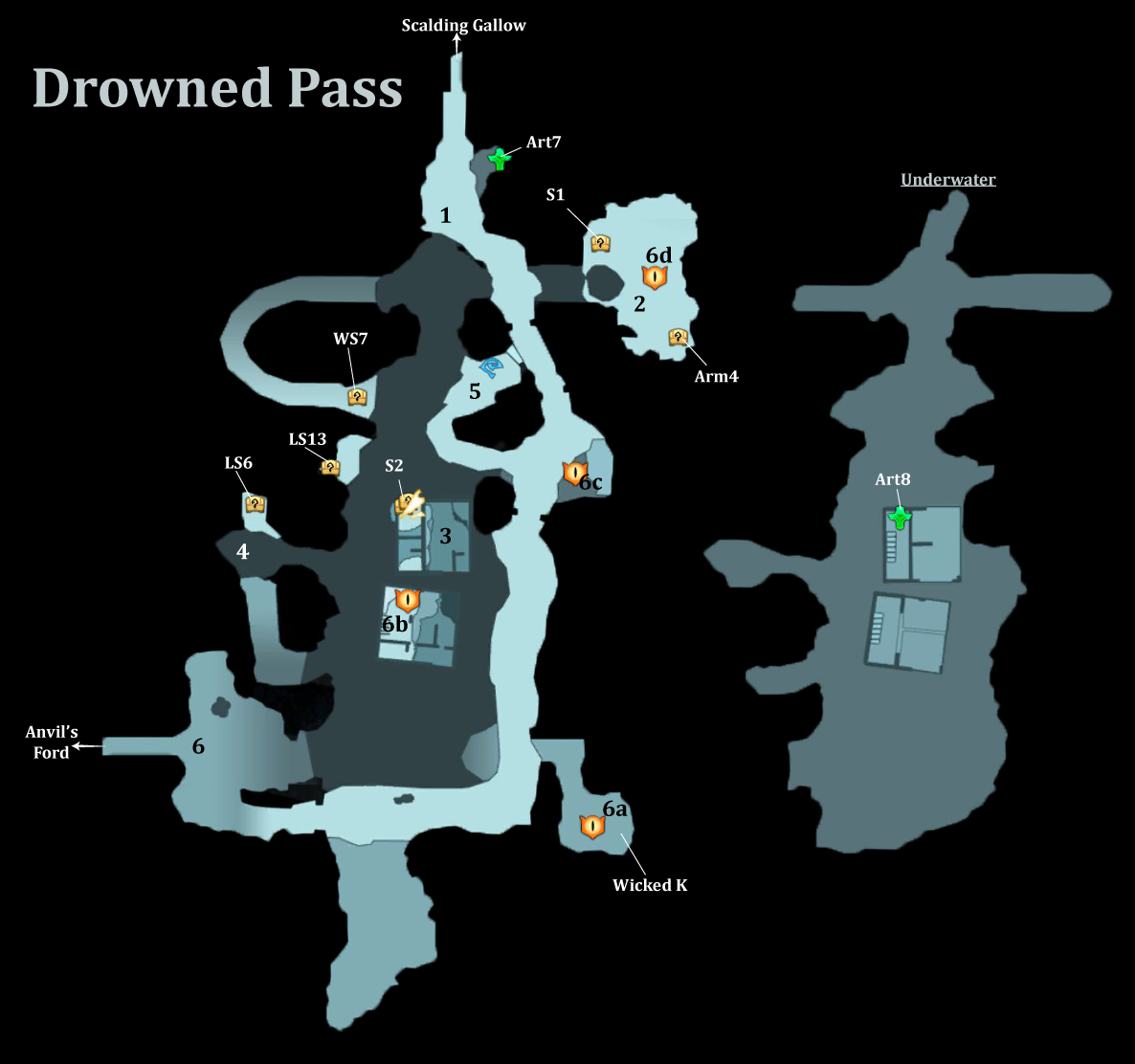 Drowned Pass Map  sc 1 st  Darksiders Wikia - Fandom & Darksiders Walkthrough | Darksiders Wiki | FANDOM powered by Wikia