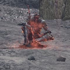 Boss odpoczywający przy ognisku