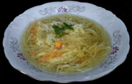 A large bowl of soup