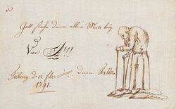 Gott stehe dem alten Mann bey - Hegel auf einer Karikatur von Fallot 1791