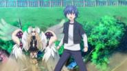 Shido and Mayuri stare at Kerubiel