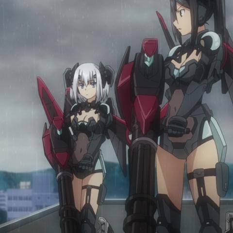 Origami et Ryouko tenant <i>Auldist</i>
