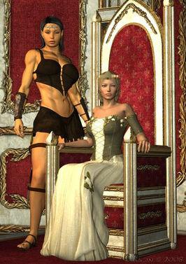 Ehlana and Mirtai by knight776