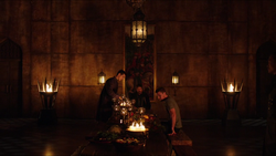 Ra's convinces Oliver to accept the title of Ra's al Ghul