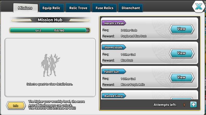 DoG Relic Mission Hub screen
