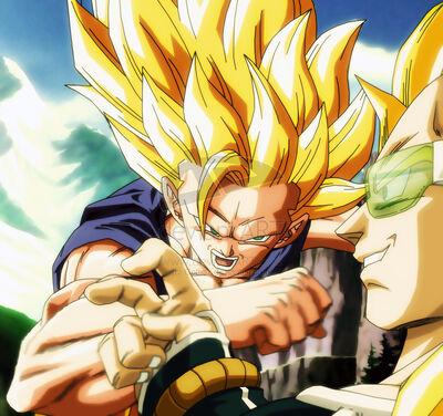SSJ3 Goku vs SSJ Raditz