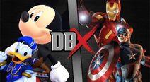Mickey y Donald vs Iron Man y Cap