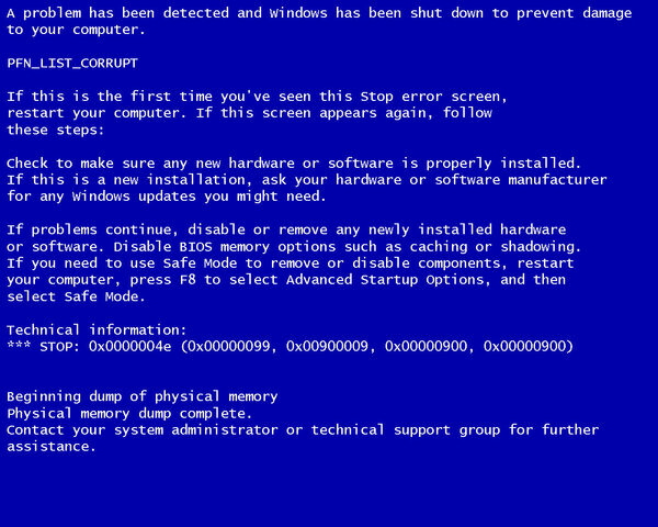 Windows-blue-screen-of-death-pfn list corrupt
