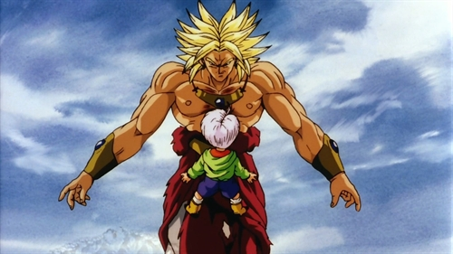 Super Saiyan Brolly confront Kid Trunks