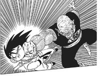Demon King Piccolo punches Goku into the ground