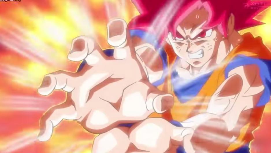 Goku apuntando a Rin