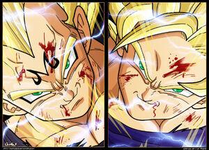 Majin SSJ2 Vegeta vs SSJ2 Goku