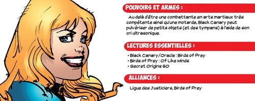 Carte d'Identité de Black Canary