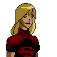 Pose oficial de Superchica con su traje de la primera temporada.