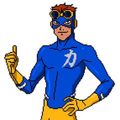 Pose oficial de Recarga con su traje de la primera temporada.