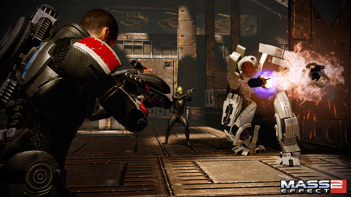 Shepard and Thane take down a YMIR Mech in Mass Effect 2