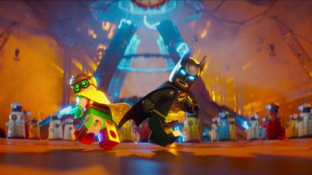 lego batman and robin with daleks in the background